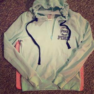Victoria's Secret PINK light blue half-zip hoodie